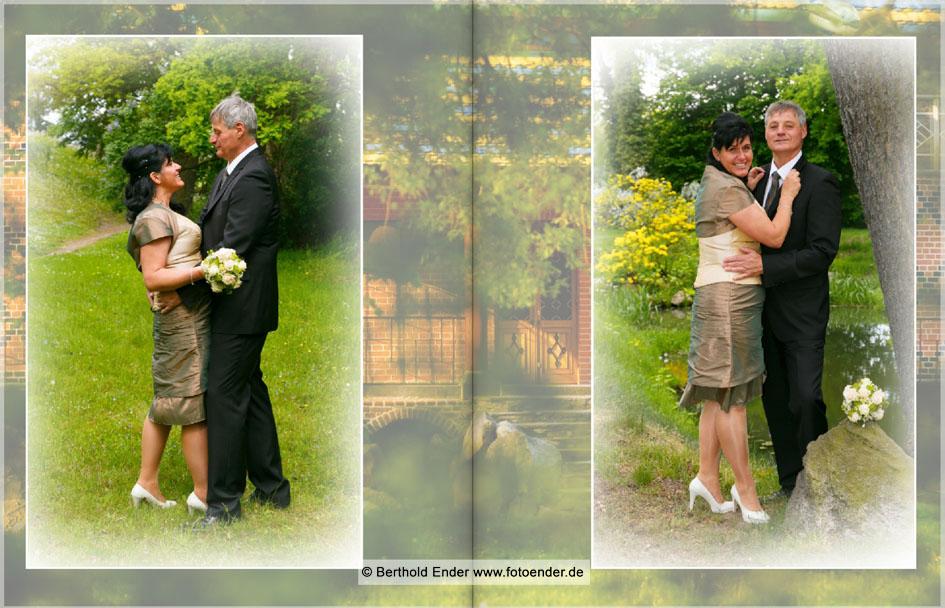 Echtfotobuch Brautpaar im Park Oranienbaum - Fotostudio Ender