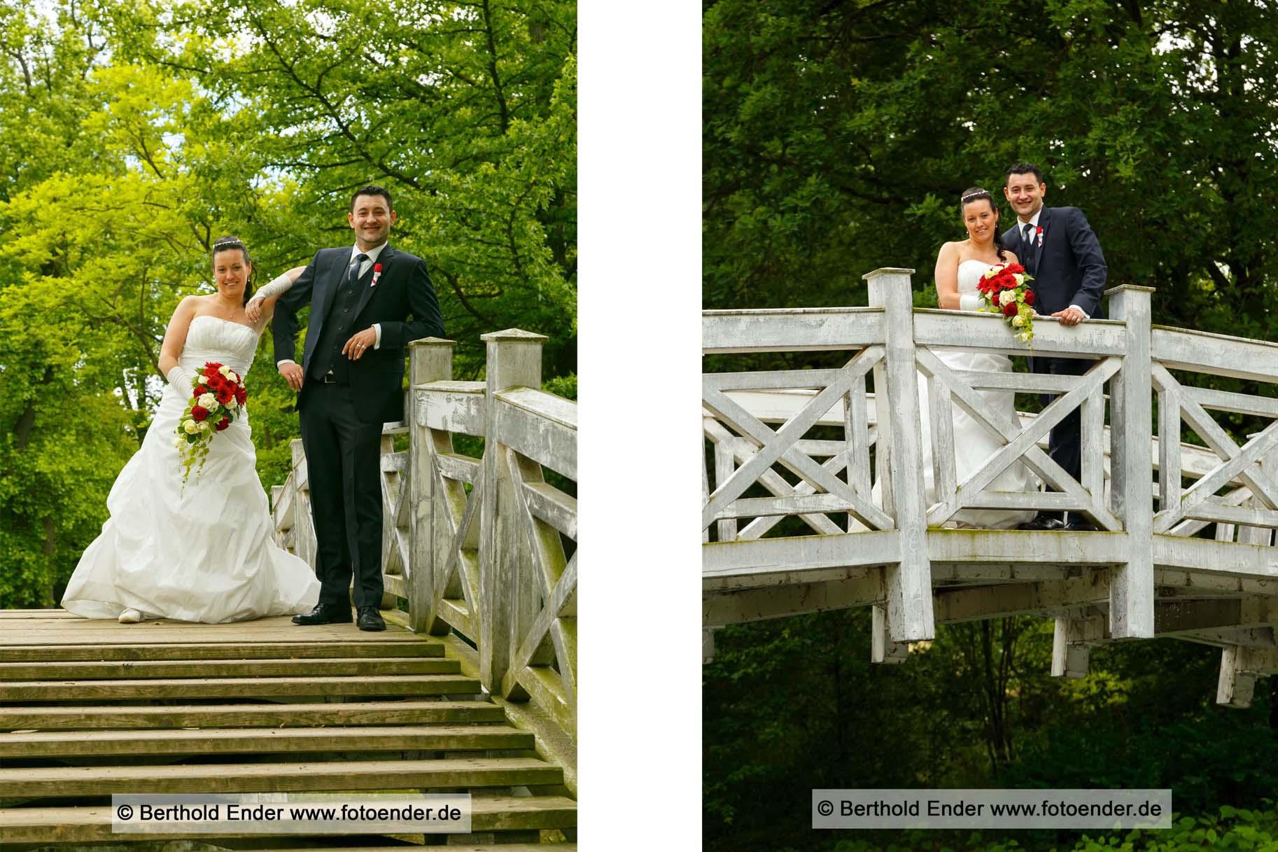 Hochzeitsbilder im Wörlitzer Park an der Weissen Brücke, Fotostudio Ender