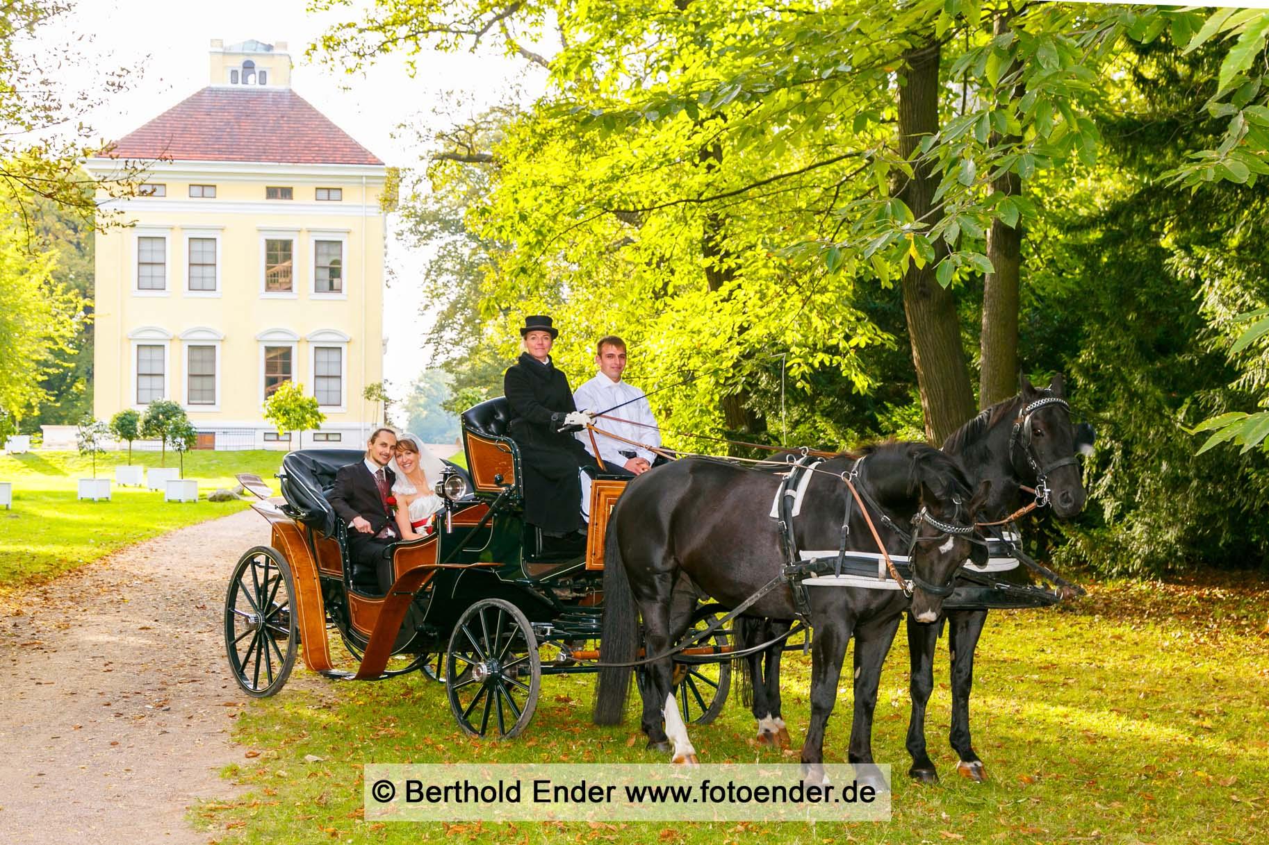 Hochzeitsfkutsche im Luisium: Fotostudio Ender, Oranienbaum-Wörlitz