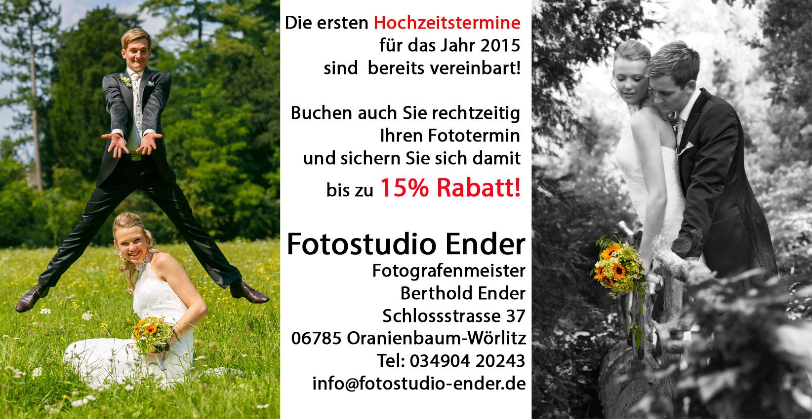 Frühbucherrabatt bei Hochzeitsaufnahmen Fotostudio Ender Oranienbaum-Wörlitz