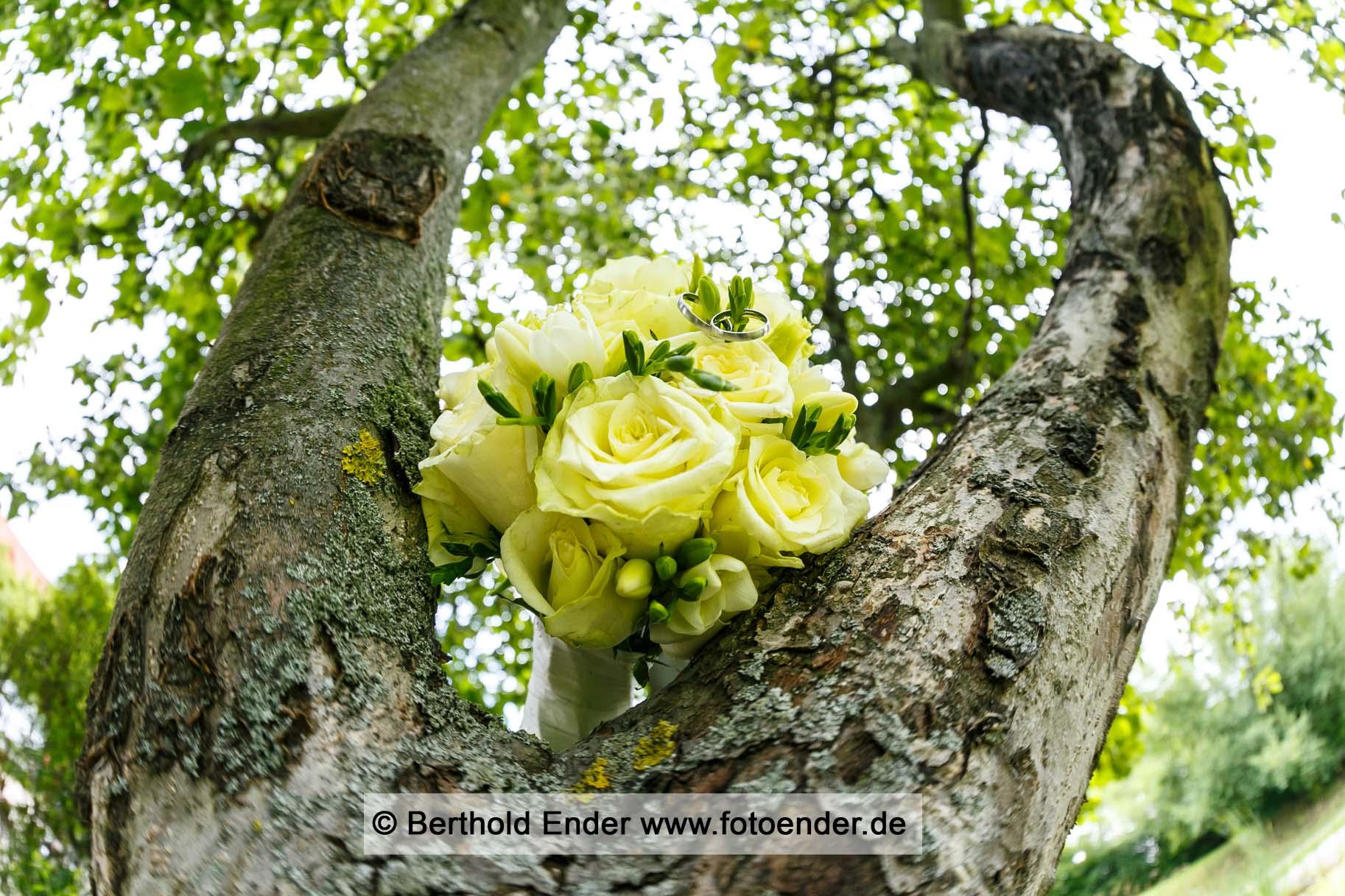 Brautstrauß und Ringe - Fotostudio Ender