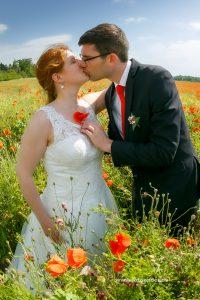 Heiraten in Köthen Brautpaar im Mohnfeld